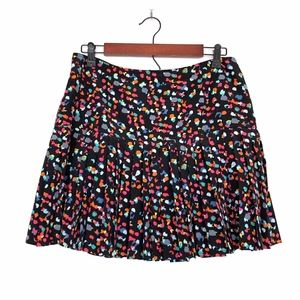 Hinge Black Pink Polka Dot Pleated Mini Skirt